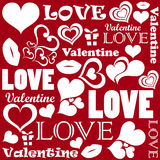 Valentine pattern with love symbols Stock Photos