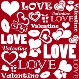 Valentine pattern with love symbols Stock Photos