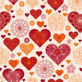 Valentine pattern with red and orange vintage hearts. And wave strips, vector royalty free illustration