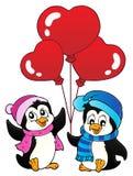 Valentine penguins thematics 1 Royalty Free Stock Photo