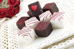 Valentine Petit Fours. A plate full of Valentine Petit Fours with chocolate and vanilla icing with red stripes and a heart shape, horizontal with copy space Stock Images