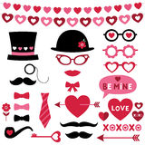 Valentine photo booth and scrapbooking vector set Stock Photos