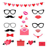 Valentine photo booth set Stock Photography