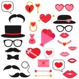Valentine photo booth set. Valentine photo booth vector set royalty free illustration