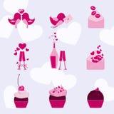 Valentine-pictogram met liefdevogels die wordt geplaatst Stock Afbeeldingen