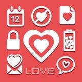 Valentine-pictogrammen geplaatst voor om het even welk gebruik groot Vector eps10 Royalty-vrije Stock Foto's