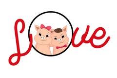 Valentine piglet cute cartoon. Big Letters Love. royalty free illustration