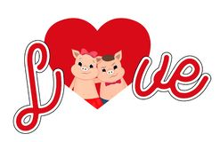 Valentine piglet cute cartoon. Big Letters Love. vector illustration