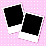 Valentine pink background with photo frames. Valentine pink background with white dots and two photo frames Stock Photos