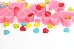 Valentine pink candles Stock Photos