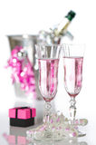 Valentine Pink Champagne Stock Photos