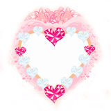 Valentine pink heart frame Royalty Free Stock Photos