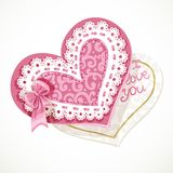 Valentine pink heart with lace Royalty Free Stock Photo