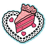 Valentine pink layered love cake icing heart candies white doily. This is a cute and simple vector illustration. The design depicts a slice of layered strawberry Royalty Free Stock Photo