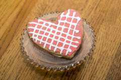 Valentine Pink White Heart Sugar Cookie with Lattice. Royalty Free Stock Image