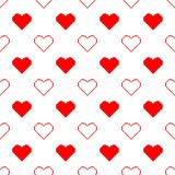 Valentine pixel seamless pattern. Geometric white and red hearts isolated on white background. Holiday illustration vector illustration