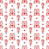 Valentine pixel seamless pattern. Geometric red hearts with bear and rose isolated on white background. Holiday illustration stock illustration