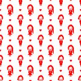 Valentine pixel seamless pattern. Geometric red hearts with boys and girls isolated on white background. Holiday illustration royalty free illustration