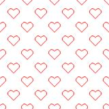 Valentine pixel seamless pattern. Geometric red hearts isolated on white background. Holiday illustration royalty free illustration