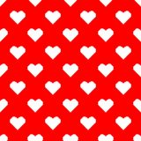 Valentine pixel seamless pattern. Geometric white hearts isolated on red background. Holiday illustration stock illustration