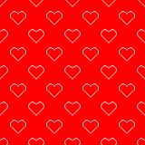 Valentine pixel seamless pattern. Geometric white hearts isolated on red background. Holiday illustration vector illustration