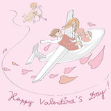 Valentine plane flying Royalty Free Stock Images