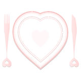 Valentine plate and dishes Royalty Free Stock Images