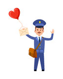 Valentine Post and Mailman with Heart Balloon Royalty Free Stock Photo
