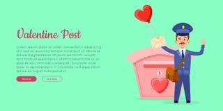 Valentine Post Vector Web Banner avec le facteur illustration libre de droits