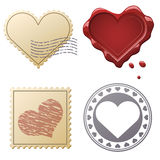 Valentine postage set. With stamps and seals isolated on white background Stock Illustration