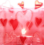 Valentine postcard. Pink hearts and a candle Royalty Free Stock Photography