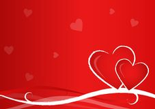 Valentine Postcard. With two hearts on red background Stock Photo