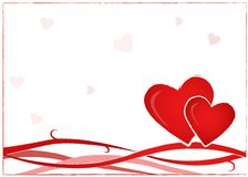 Valentine Postcard. Valentine background postcard with two hearts Royalty Free Stock Images