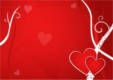 Valentine Postcard. With two hearts on red background Stock Image