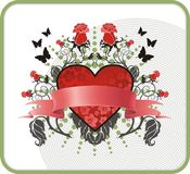 Valentine postcard. With heart, roses, butterflies and banner vector illustration