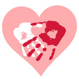Valentine postcard with handprints and heart Royalty Free Stock Images