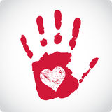 Valentine postcard with handprints and heart Stock Photography