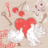 Valentine postcard with hearts and doves Royalty Free Stock Photos