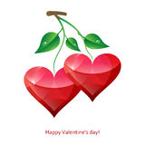 Valentine postcard with hearts. Greeting card Valentine's day card with two hearts-cherries Royalty Free Stock Image