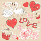 Valentine postcard with hearts and swans Royalty Free Stock Photo