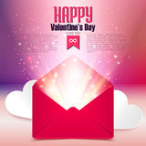 Valentine postcard with love letter surprise on defocused bokeh background, vector illustration Royalty Free Stock Photos