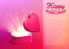 Valentine postcard with opened surprise gift box and shine Stock Photos