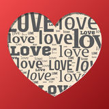 Valentine postcard. Paper postcard with love words Royalty Free Stock Images