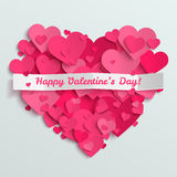 Valentine postcard, romantic text on pink paper hearts background Royalty Free Stock Photos