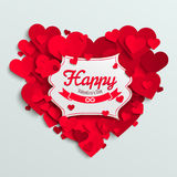 Valentine postcard, romantic text on red paper hearts background Stock Photo