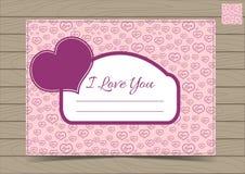 Valentine Postcard Template rosado con los corazones Foto de archivo libre de regalías