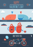 Valentine poster with hearts, bicycle and whales. Color valentine poster with hearts, bicycle and whales Stock Images