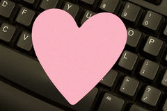 Valentine Postit Note on Keyboard Stock Photos