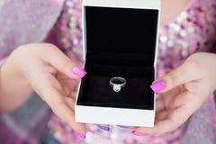 Valentine present reward diamond ring gift box stock photography