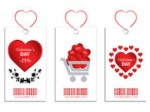Valentine Price Tags. Illustrations of three price tags featuring Valentine's Day themes Royalty Free Stock Photos
